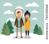 winter people background with... | Shutterstock .eps vector #760100068