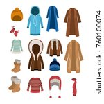 winter clothes set with coats... | Shutterstock .eps vector #760100074
