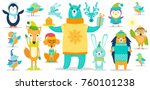 deer and dog  penguin and... | Shutterstock .eps vector #760101238