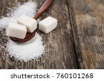 wooden spoon with sugar on an...   Shutterstock . vector #760101268