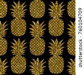 gold glitter pineapples on... | Shutterstock . vector #760104709