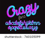 crazy color 3d alphabet vector... | Shutterstock .eps vector #760105099