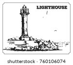 vector image of lighthouse.... | Shutterstock .eps vector #760106074