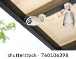 cctv camera on the roof | Shutterstock . vector #760106398