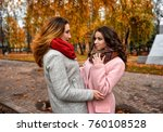 girls friends laughing and... | Shutterstock . vector #760108528