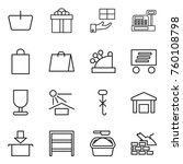thin line icon set   basket ... | Shutterstock .eps vector #760108798