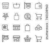 thin line icon set   shop ... | Shutterstock .eps vector #760108960