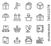 thin line icon set   gift ... | Shutterstock .eps vector #760112278