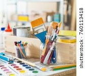 paint brushes and crafting... | Shutterstock . vector #760113418