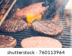 meat cutlet for burger on the... | Shutterstock . vector #760113964