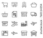 thin line icon set   cart ... | Shutterstock .eps vector #760114354