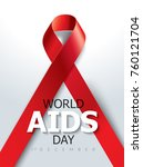 aids awareness red ribbon.... | Shutterstock .eps vector #760121704