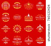 set of merry christmas and... | Shutterstock .eps vector #760122424