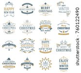 set of merry christmas and... | Shutterstock .eps vector #760122490