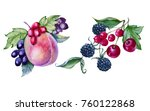 peach with berries in a bouquet.... | Shutterstock . vector #760122868