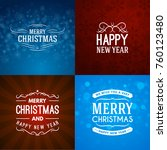 set of merry christmas and... | Shutterstock .eps vector #760123480