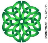 celtic shamrock knot in circle. ... | Shutterstock .eps vector #760124044