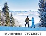couple of skiers watching... | Shutterstock . vector #760126579