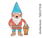 gnome with hand lamp in colored ... | Shutterstock .eps vector #760127218