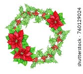 christmas wreath made of... | Shutterstock . vector #760129024
