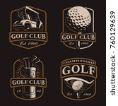 golf vector set with vintage... | Shutterstock .eps vector #760129639