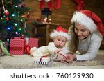 mother and daughter at... | Shutterstock . vector #760129930