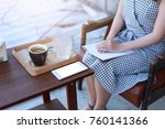 young girl  with book in...   Shutterstock . vector #760141366