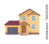 colorful suburban house  family ... | Shutterstock .eps vector #760142350