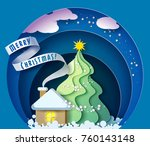 color paper cut design and... | Shutterstock .eps vector #760143148