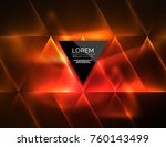 color neon glowing triangles ... | Shutterstock .eps vector #760143499