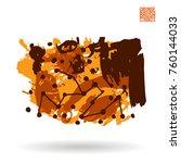orange brush stroke and texture.... | Shutterstock .eps vector #760144033
