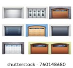 set of realistic garage doors... | Shutterstock .eps vector #760148680