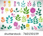 floral set of colorful doodle... | Shutterstock .eps vector #760150159