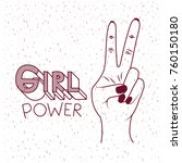 girl power poster text and hand ... | Shutterstock .eps vector #760150180