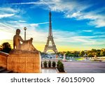 eiffel tower from trocadero... | Shutterstock . vector #760150900
