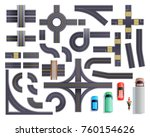 set of road parts with roadside ... | Shutterstock .eps vector #760154626