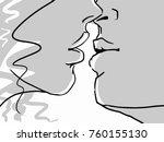 kissing lovers  closeup. black... | Shutterstock .eps vector #760155130