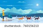 Sleddog Huskies With Mountains...
