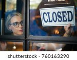 pretty young shop owner turning ... | Shutterstock . vector #760163290