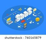 saas isometric vector... | Shutterstock .eps vector #760165879