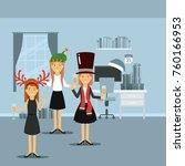 women in dresses celebrating...   Shutterstock .eps vector #760166953