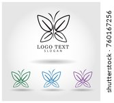 butterfly logo icon vector... | Shutterstock .eps vector #760167256