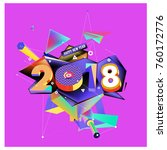 new year 2018. colorful design. | Shutterstock .eps vector #760172776