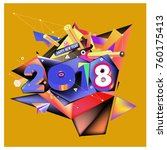 new year 2018. colorful design. | Shutterstock .eps vector #760175413