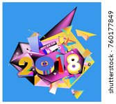 new year 2018. colorful design. | Shutterstock .eps vector #760177849