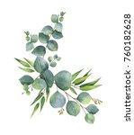 watercolor hand painted wreath... | Shutterstock . vector #760182628