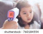 mother measuring temperature... | Shutterstock . vector #760184554