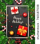christmas background with fir... | Shutterstock .eps vector #760187038