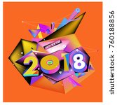 new year 2018. colorful design. | Shutterstock .eps vector #760188856