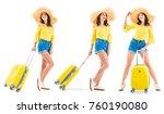 beautiful young woman smiling...   Shutterstock . vector #760190080
